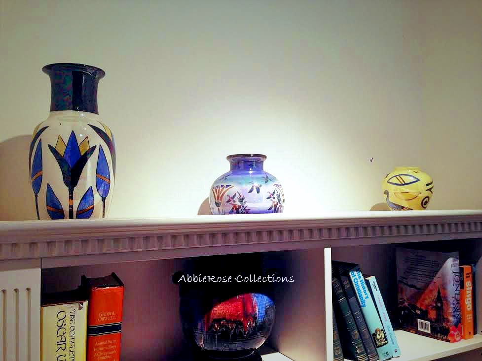 Egyptian themed vases in situ in client's home.