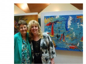My Mum and I at the Woodford Biennial Art Exhibition. Background Sailing