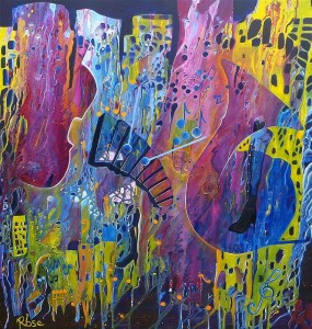 Rhythm of the Night    This painting epitomises the floating rhythm of music through the years creating and linking to a strong sense of community.  Connecting on both an emotional and intellectual level music can reveal our loves, dreams and fears through a constantly moving and evolving auditory journey.