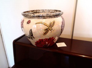 """""""Spring Delight"""" ceramic pot is on display at the Valori Espresso Lounge and Gallery Christmas Exhibition until 3rd January 2014."""