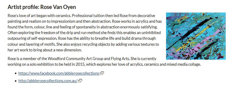 Artist of the Month September 2014 at Burpengary Library